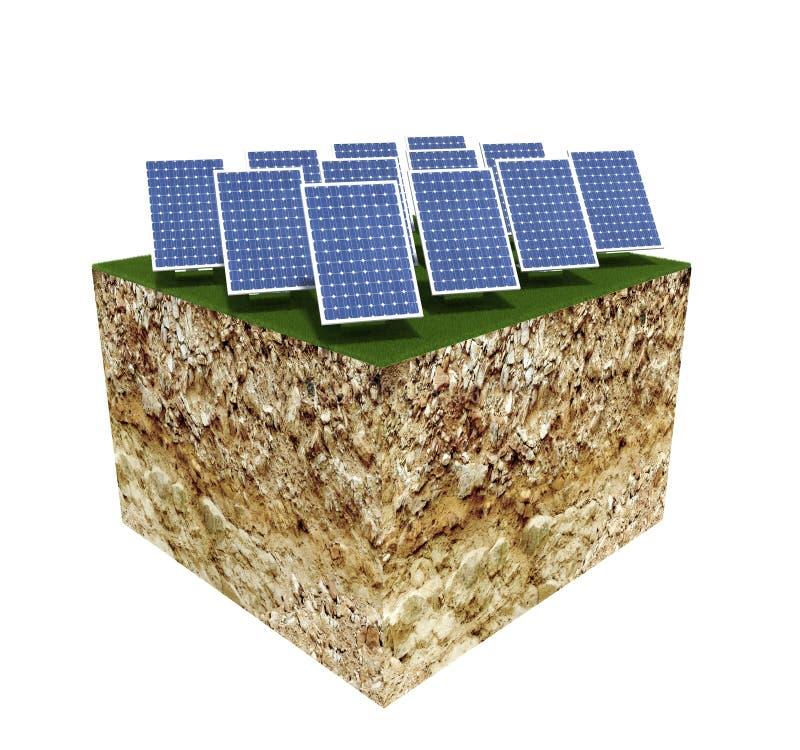 Grundquerschnitt mit modernen Sonnenkollektoren stock abbildung