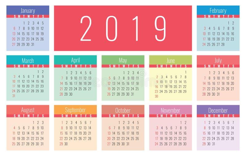Grundraster des Vektors des Kalenders 2019 Schablone des übersichtlichen Designs lizenzfreie abbildung