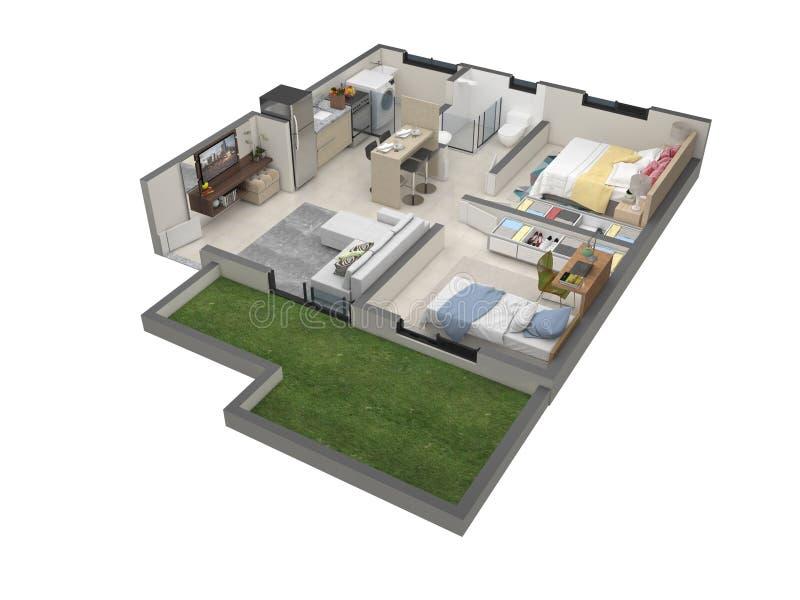 Grundriss 3D der kleinen Wohnung stock abbildung
