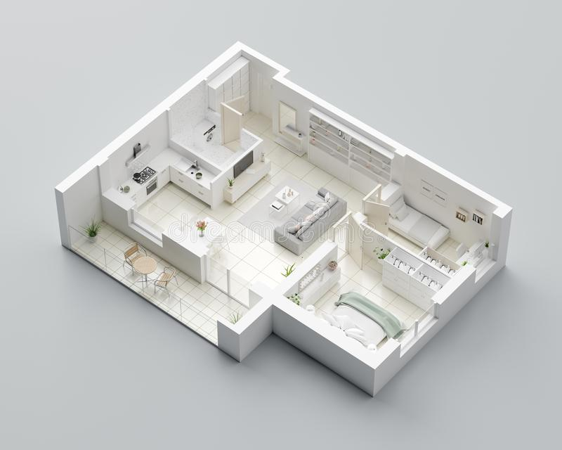 Grundriss 3D eines Hauses Öffnen Sie lebenden Wohnungsplan des Konzeptes vektor abbildung