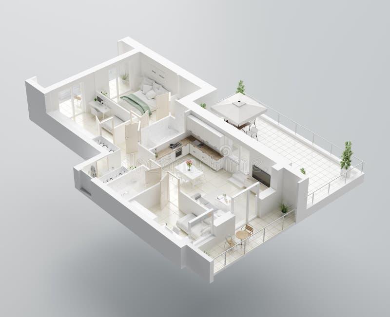 Grundriss 3D eines Hauses ?ffnen Sie lebenden Wohnungsplan des Konzeptes stock abbildung