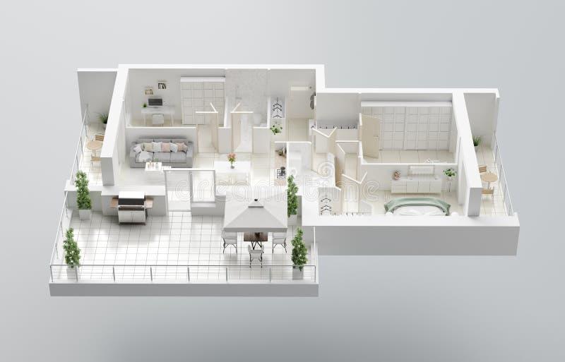 Grundriss 3D eines Hauses ?ffnen Sie lebenden Wohnungsplan des Konzeptes lizenzfreie abbildung