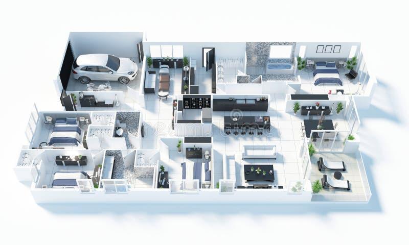 Grundriss einer Illustration der Draufsicht 3D des Hauses Öffnen Sie lebenden Wohnungsplan des Konzeptes stock abbildung
