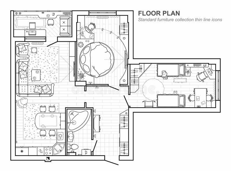 Grundriss mit Möbeln in der Draufsicht Architektursatz der dünnen Linie Ikonen der Möbel Ausführliches Projekt der modernen Wohnu vektor abbildung