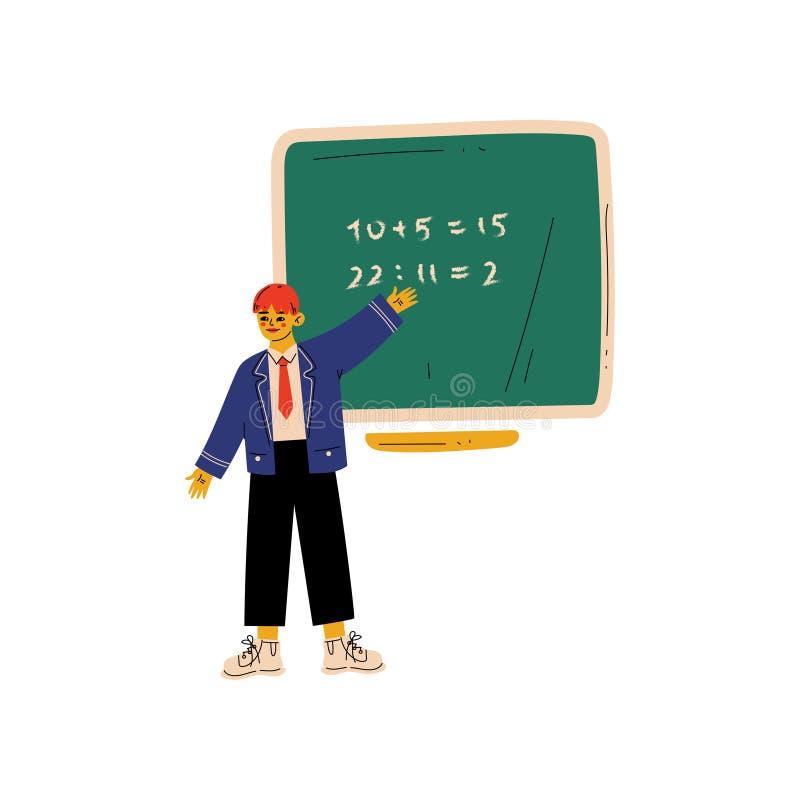 Grundschüler Standing Next Chalkboard und Schreiben der mathematischen Beispiel-Vektor-Illustration stock abbildung