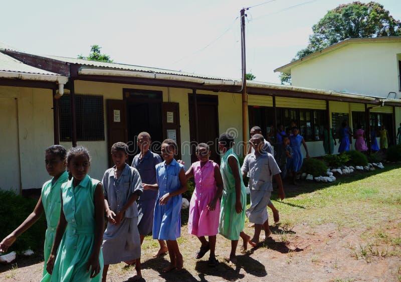 grundskola för barn mellan 5 och 11 år för ö för gruppfiji fijian arkivfoto