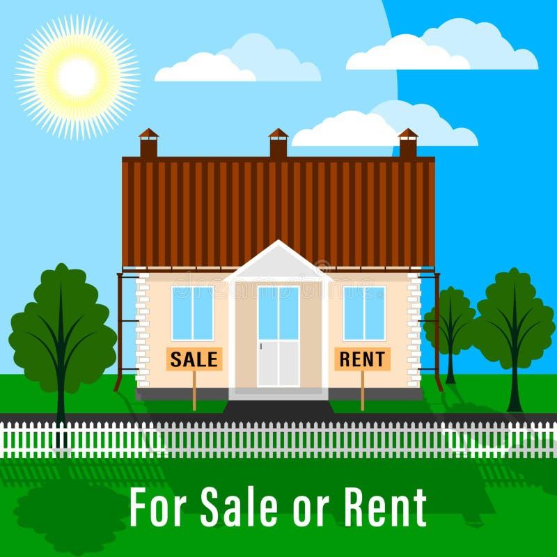 Grundstück für Verkauf oder Miete Landplan mit Bäumen, grüner Rasen und Haus, eingezäunt mit Vorgarten lizenzfreie abbildung