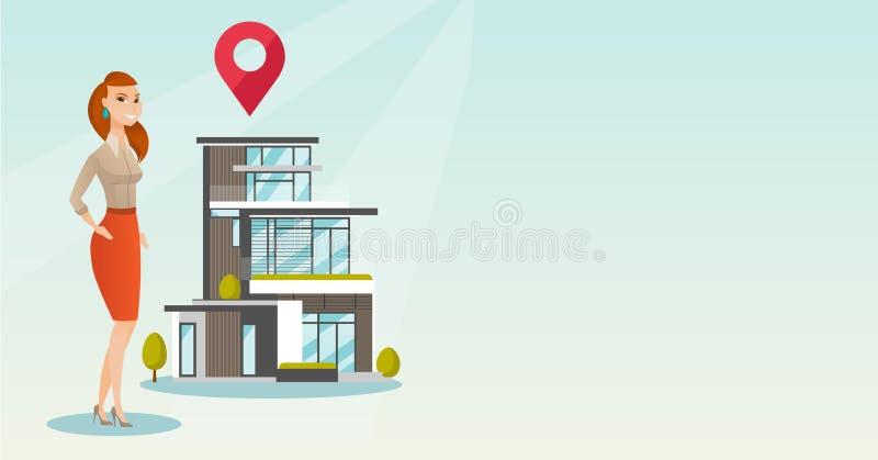 Grundstücksmakler auf Hintergrund des Hauses mit Kartenzeiger stock abbildung