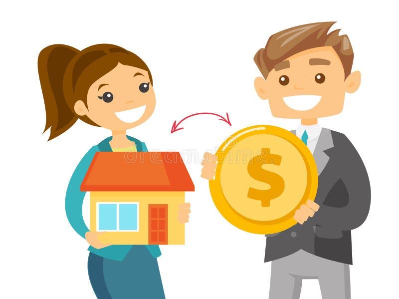 Grundstücksmakler, der ein Haus zur Münze eines Kunden austauscht vektor abbildung