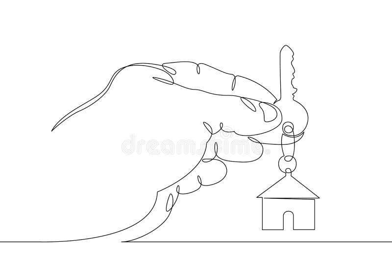 Grundstücksmaklerhandsymbol-Schlüsselhaus vektor abbildung