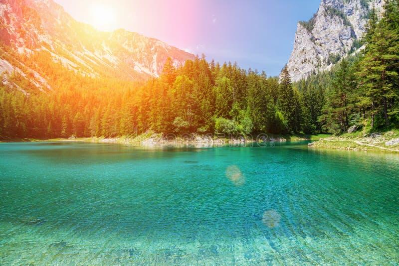 Gruner ser med kristallklart vatten i Österrike fotografering för bildbyråer