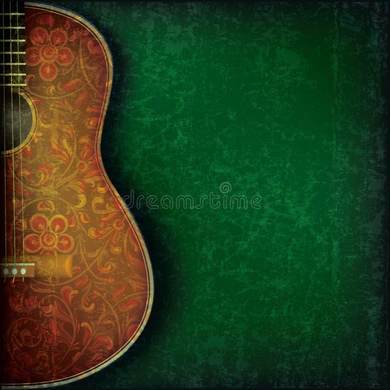 Grunge与吉他和花的音乐背景 免版税库存图片