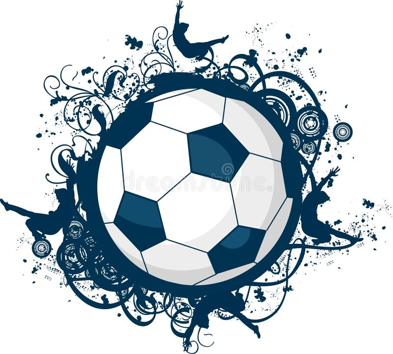 grunge图标足球 向量例证