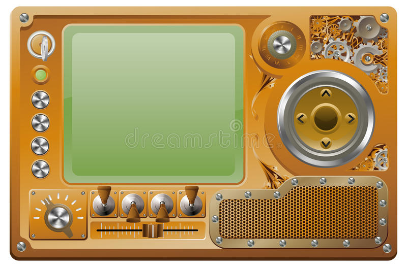 grunge媒体播放器steampunk 库存例证