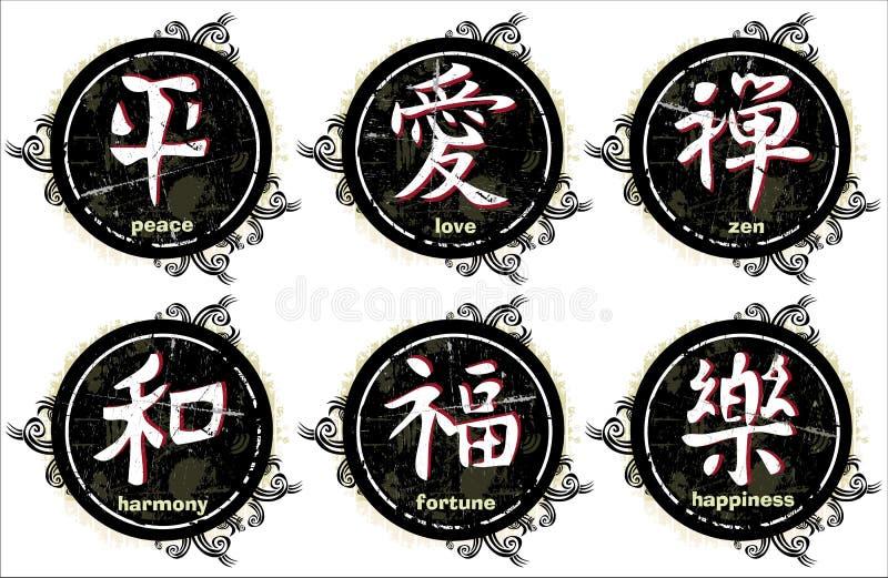 grunge日本汉字信函 皇族释放例证