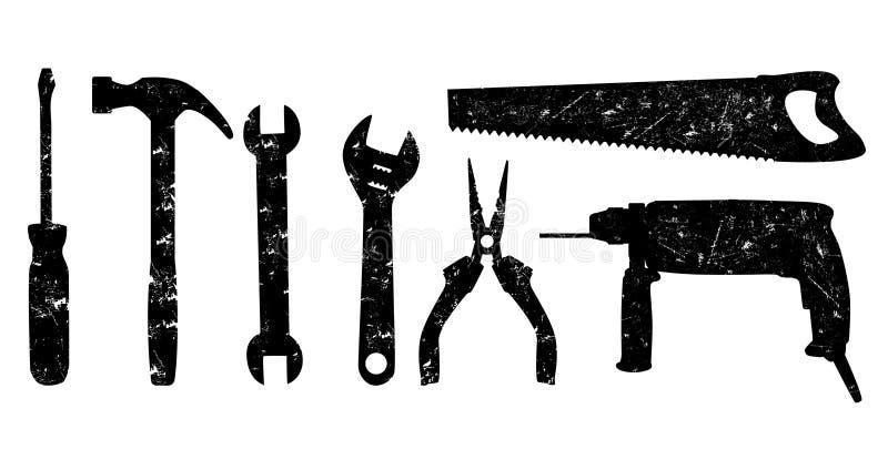 grunge用工具加工向量 库存例证
