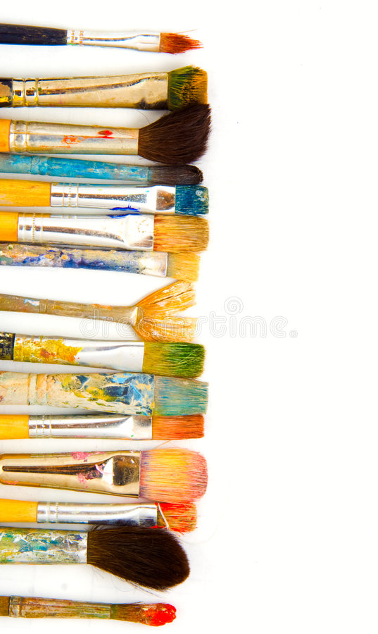 Grunge画笔。 查出 免版税库存照片