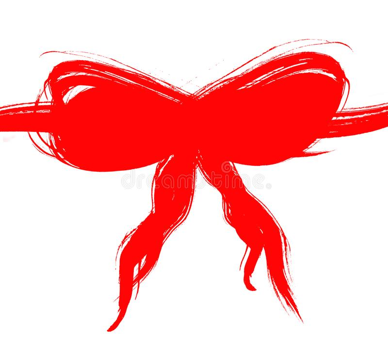 Grunge红色弓 免版税库存图片