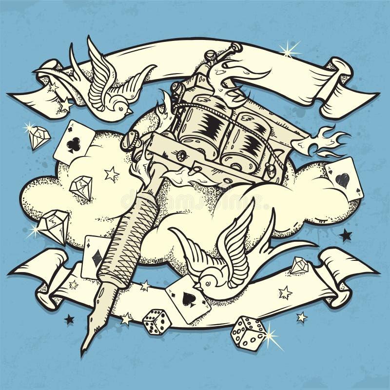 Grunge纹身花刺设备 皇族释放例证