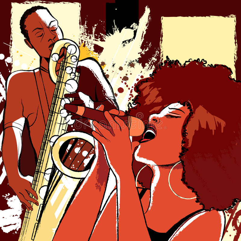 grunge背景的爵士乐歌唱家和萨克斯管吹奏者 库存例证
