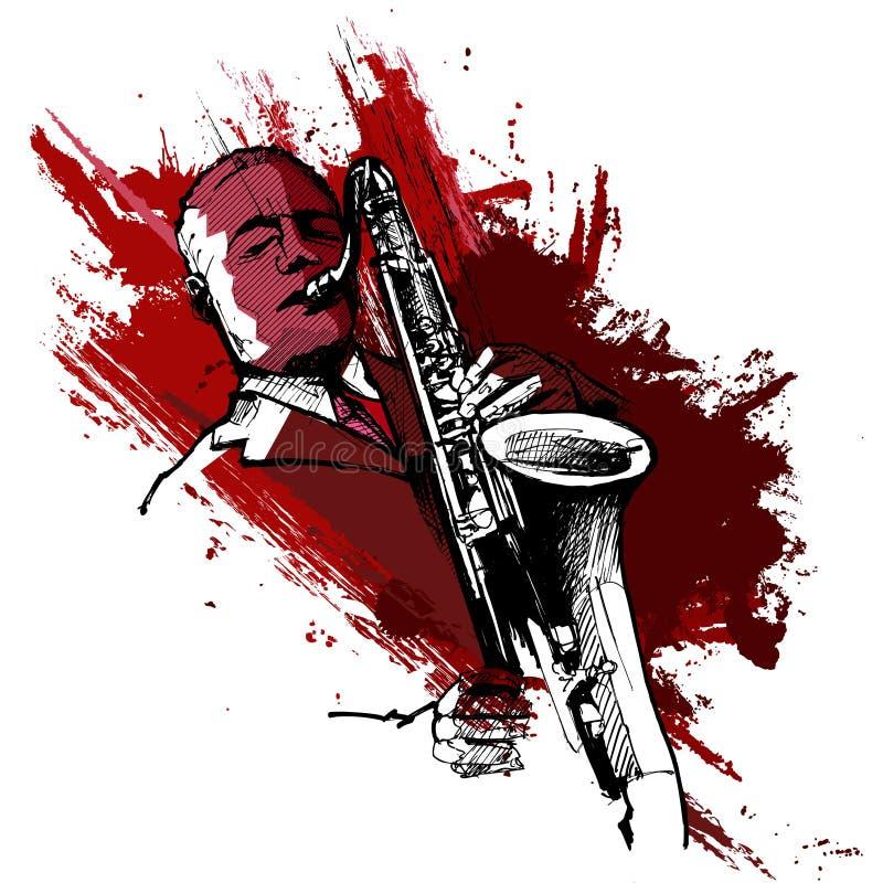 grunge背景的萨克斯管吹奏者 皇族释放例证