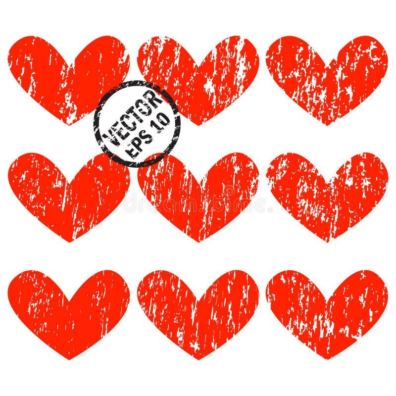 Grunge重点 一套与垂直的难看的东西的心脏裂痕 向量例证