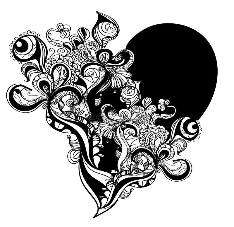Download Grunge重点 库存例证. 插画 包括有 花卉, 装饰品, 单色, 风格化, 海芋属植物, 墨水, 例证 - 12548033
