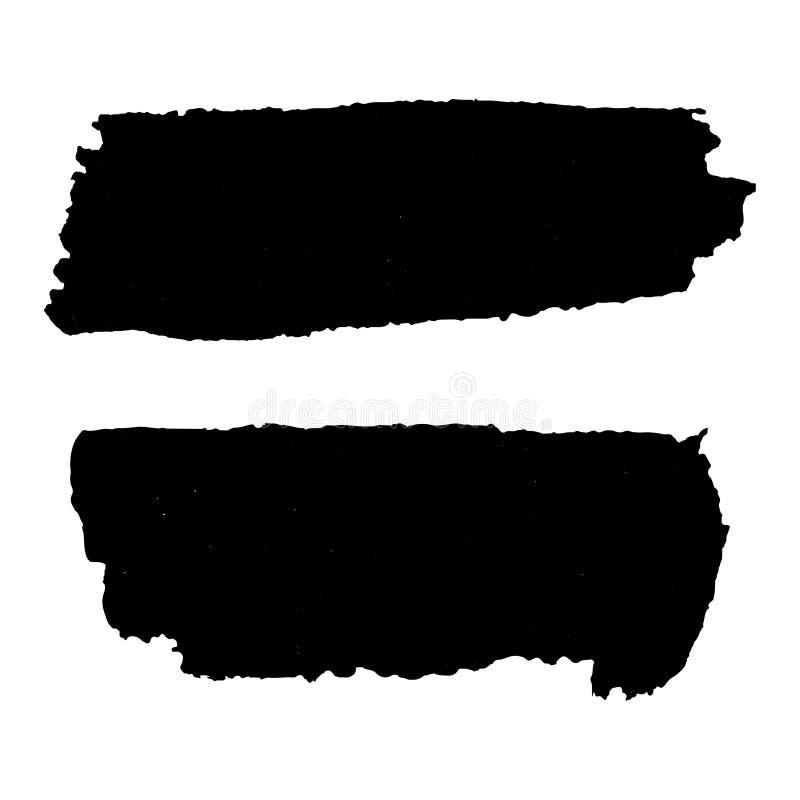 grunge集合纹理 在白色的黑水平的刷子 向量 皇族释放例证