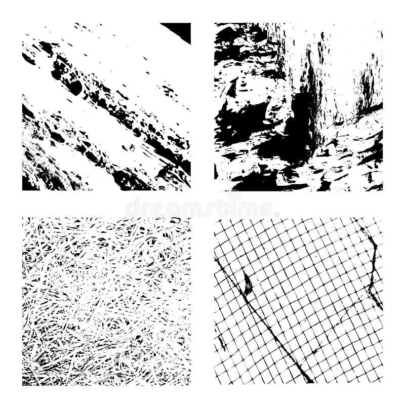 grunge集合纹理 向量例证