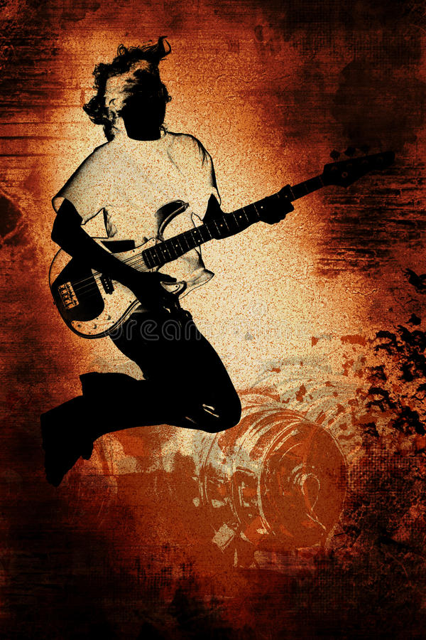 grunge青少年的吉他演奏员 皇族释放例证