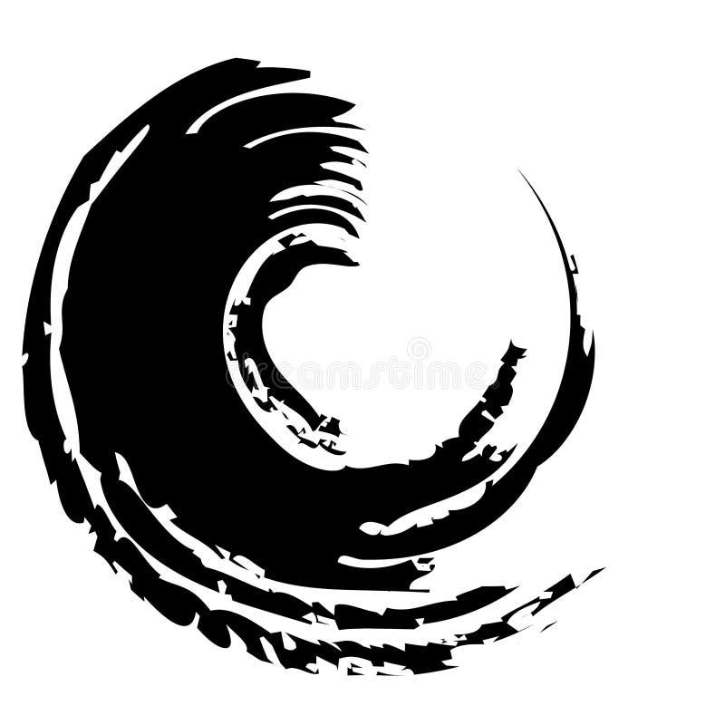 Grunge à l'encre noire de cercle de remous illustration de vecteur