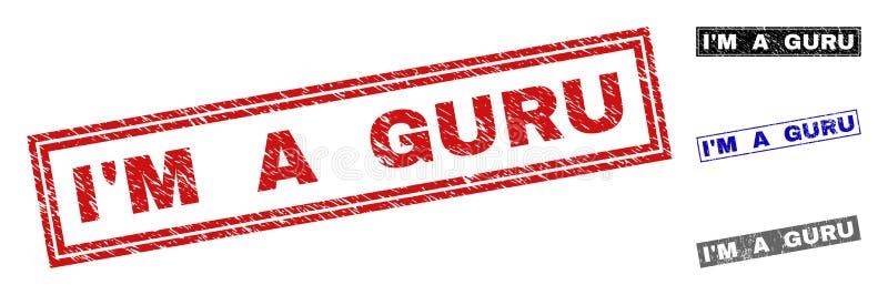 Grunge är jag en GURU Textured Rectangle Stamp Seals royaltyfri illustrationer