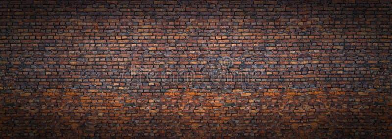 Grunge ściana z cegieł, starego brickwork panoramiczny widok fotografia stock