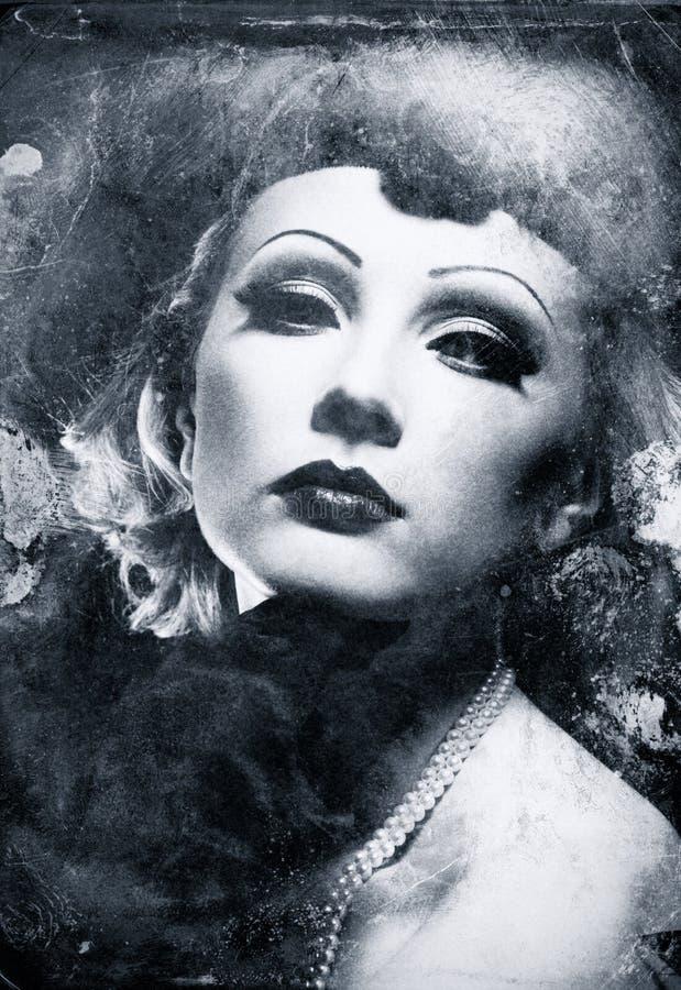 Grunge żeński portret. obrazy royalty free
