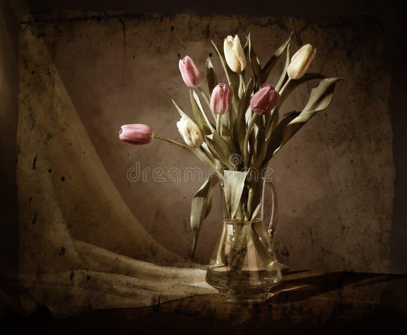 grunge życia wciąż tulipany zdjęcie royalty free