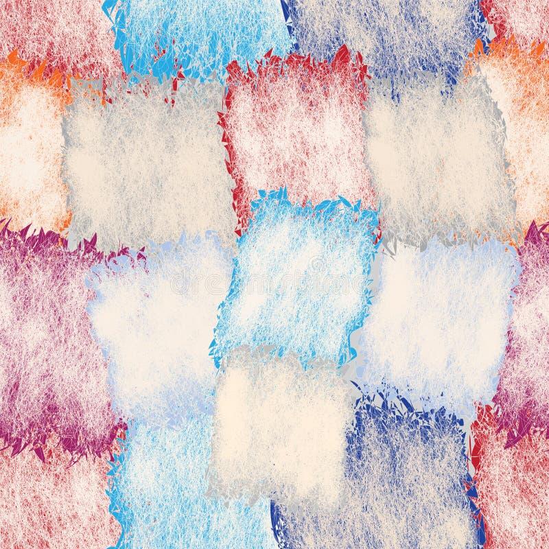 Άνευ ραφής σχέδιο το grunge που λεκιάζουν με και ριγωτά τετραγωνικά στοιχεία στα χρώματα κρητιδογραφιών στοκ εικόνα με δικαίωμα ελεύθερης χρήσης