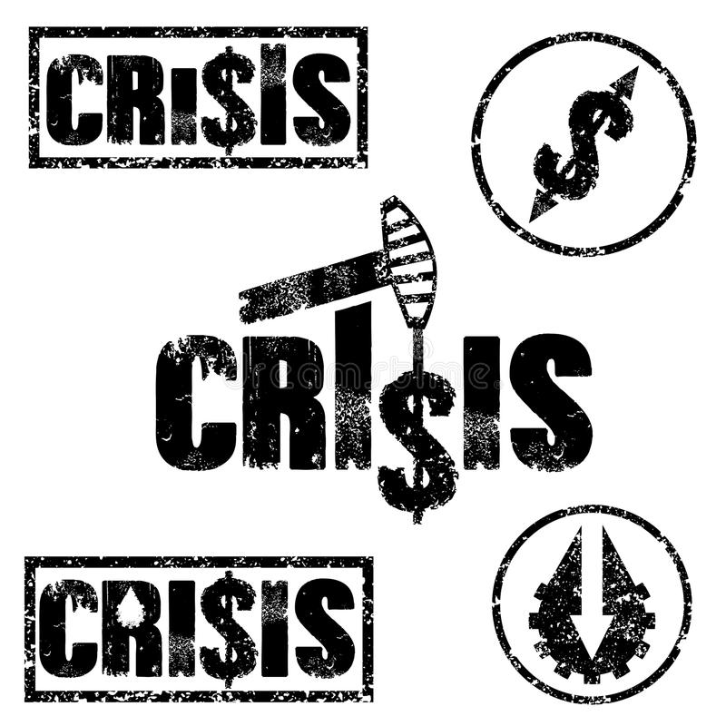 grunge απεικονίσεις της οικονομικής κρίσης και της τιμής του πετρελαίου FA διανυσματική απεικόνιση