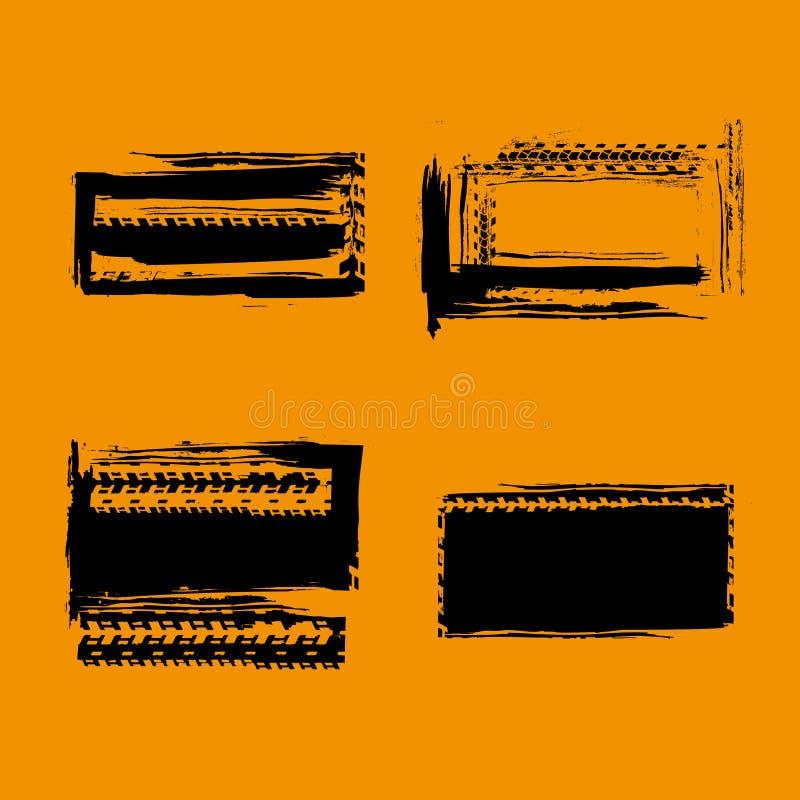 Grunge από τα γραμματόσημα οδικών ροδών απεικόνιση αποθεμάτων
