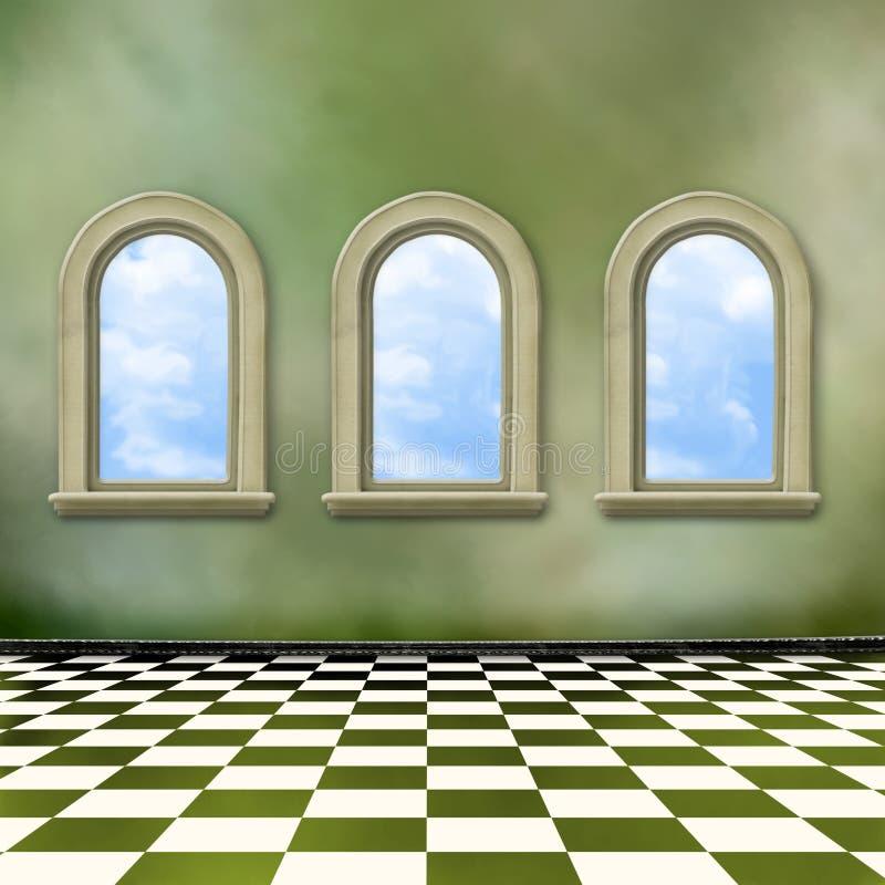grunge εσωτερικά παλαιά Windows δωμ&alpha στοκ φωτογραφία