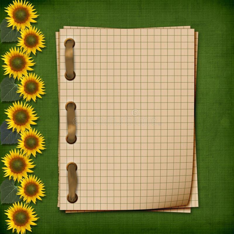 grunge ηλίανθοι σημειωματάριω&n στοκ εικόνες