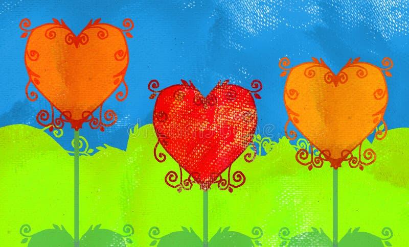 grunge καρδιές διανυσματική απεικόνιση