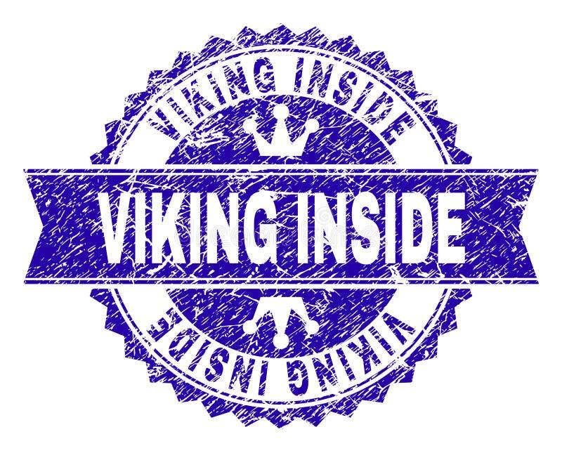 Grunge κατασκευασμένος ΒΙΚΙΝΓΚ ΜΕΣΑ στη σφραγίδα γραμματοσήμων με την κορδέλλα απεικόνιση αποθεμάτων