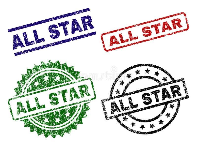 Grunge κατασκευασμένο ΟΛΑ τα γραμματόσημα σφραγίδων του STAR διανυσματική απεικόνιση