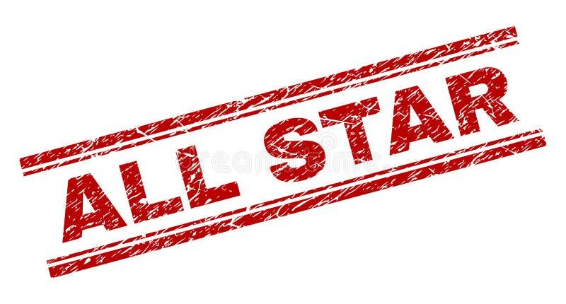 Grunge κατασκευασμένο ΟΛΗ η σφραγίδα γραμματοσήμων του STAR απεικόνιση αποθεμάτων