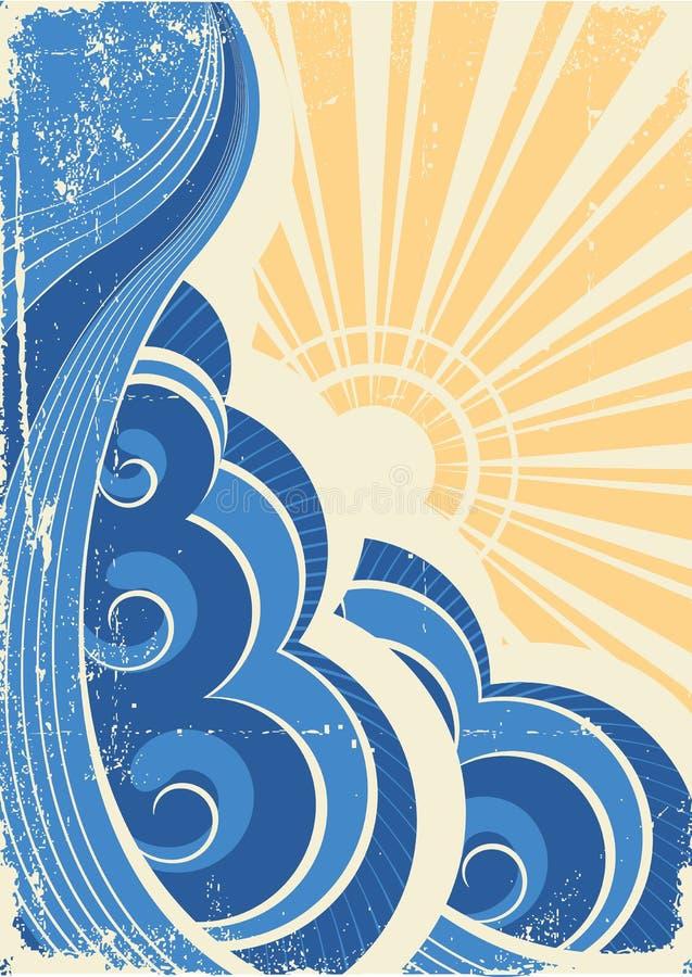 grunge κύματα θάλασσας ελεύθερη απεικόνιση δικαιώματος