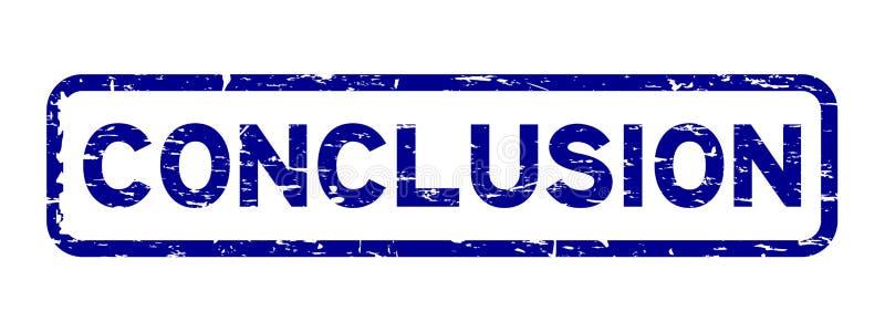 Grunge μπλε γραμματόσημο σφραγίδων συμπεράσματος τετραγωνικό λαστιχένιο στο άσπρο υπόβαθρο απεικόνιση αποθεμάτων