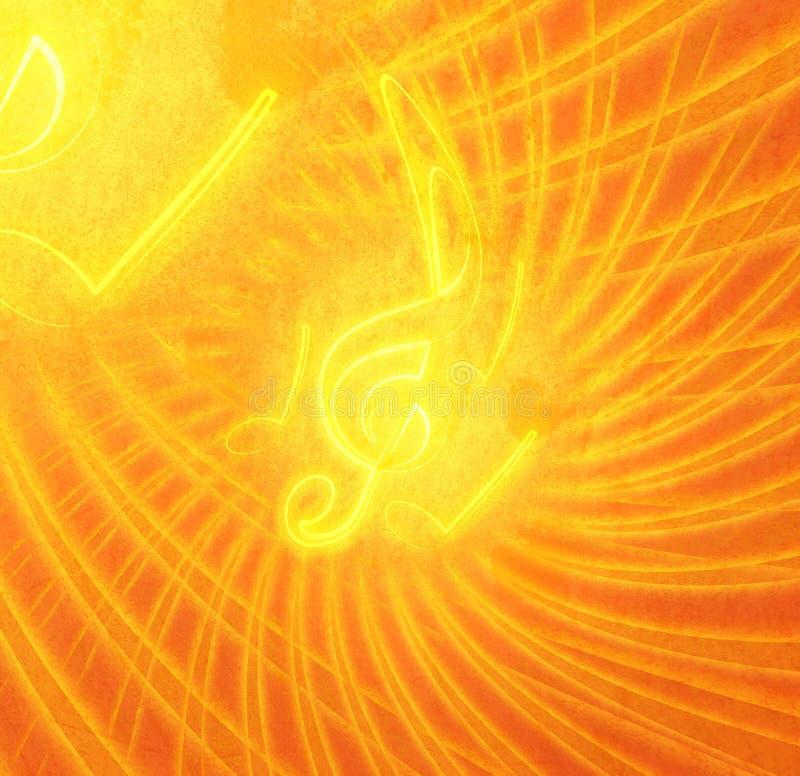 Grunge που καίει τα μουσικά σύμβολα απεικόνιση αποθεμάτων
