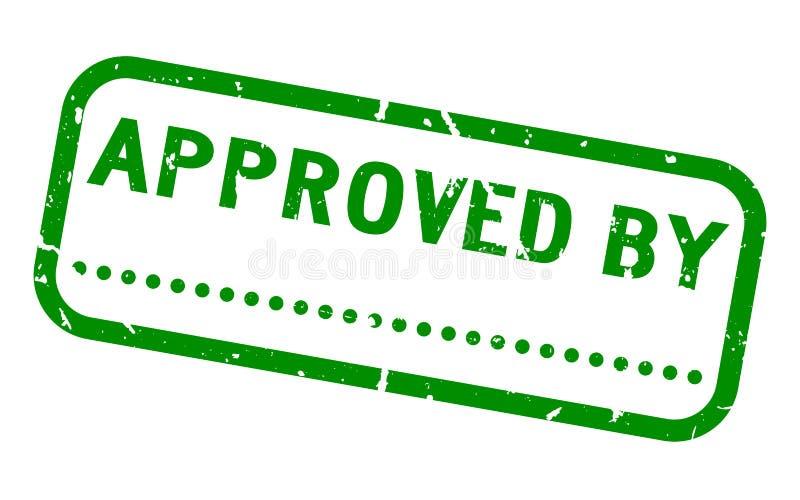 Grunge πράσινο που εγκρίνει από τη λέξη με το κενό σημείο για την τετραγωνική σφραγίδα υπογραφών στο άσπρο υπόβαθρο ελεύθερη απεικόνιση δικαιώματος