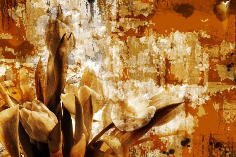 grunge σκουριασμένη τουλίπα διανυσματική απεικόνιση