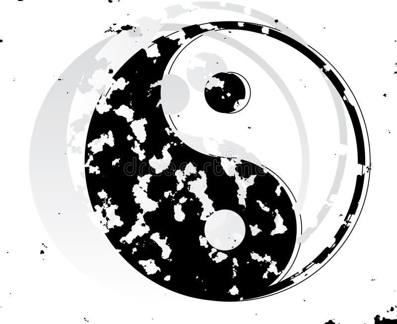 grunge σύμβολο yang yin διανυσματική απεικόνιση